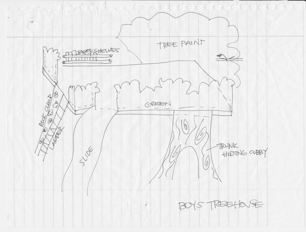 How to build an indoor tree house play loft and drill into the studs -  Original Sketched Plans For Loft Indoor Tree House I Am Hardware Featured On Remodelaholic