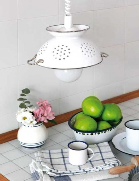 pendant lamp from enamel colander diy tutorial, Shelterness via Remodelaholic