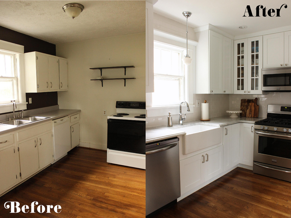 Small Kitchen Remodel White Remodelaholic  Small White Kitchen Makeover With Builtin Fridge
