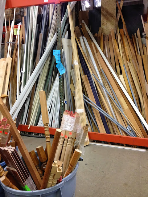 shop for kitchen island makeover scrap lumber at the Habitat Humanity ReStore, featured on Remodelaholic
