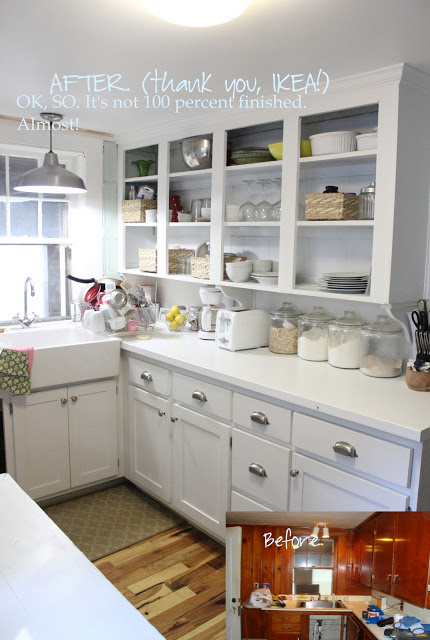 Remodelaholic | Small White Kitchen Makeover with Built-In Fridge