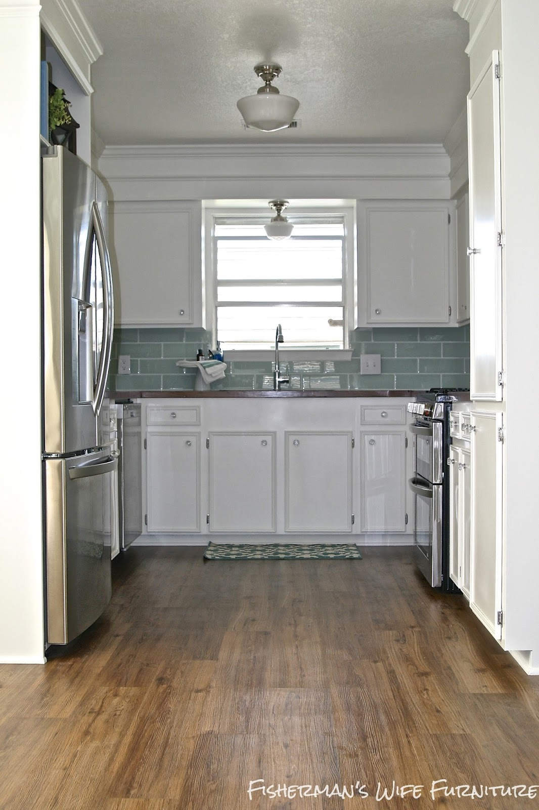 Small White Kitchen Makeover With Built In Fridge Enclosure By Kaylor Of  Fishermanu0027s Wife Furniture