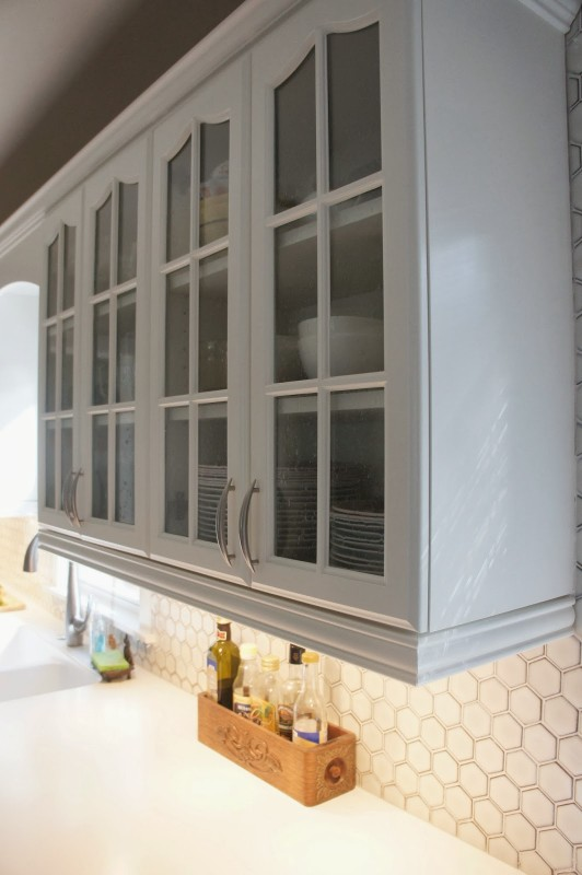 two-tone gray and white kitchen cabinets, LoveLee Homemaker featured on Remodelaholic