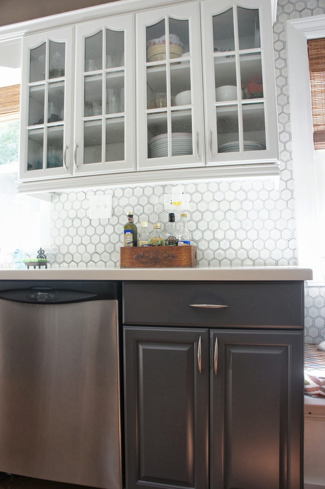 Gray And White Kitchen Makeover With Hexagon Tile Backsplash - Backsplash for gray kitchen cabinets
