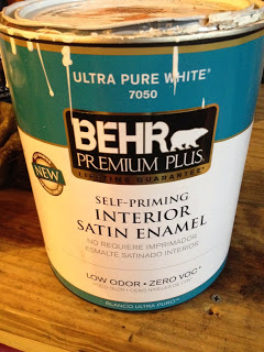 white Behr paint for the kitchen island makeover, featured on Remodelaholic