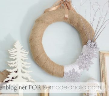Winter Wreath with Burlap and Snowflakes