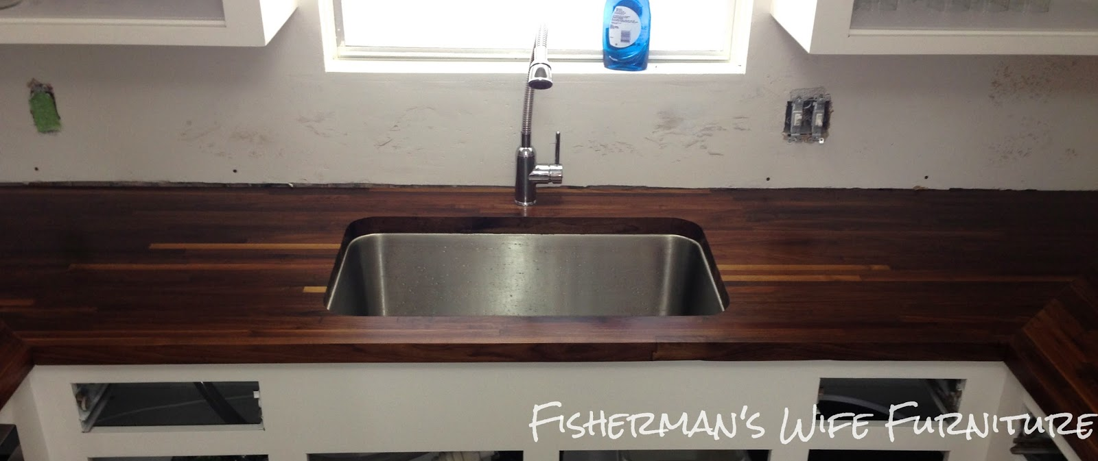 Remodelaholic small white kitchen makeover with built in for Install butcher block countertops