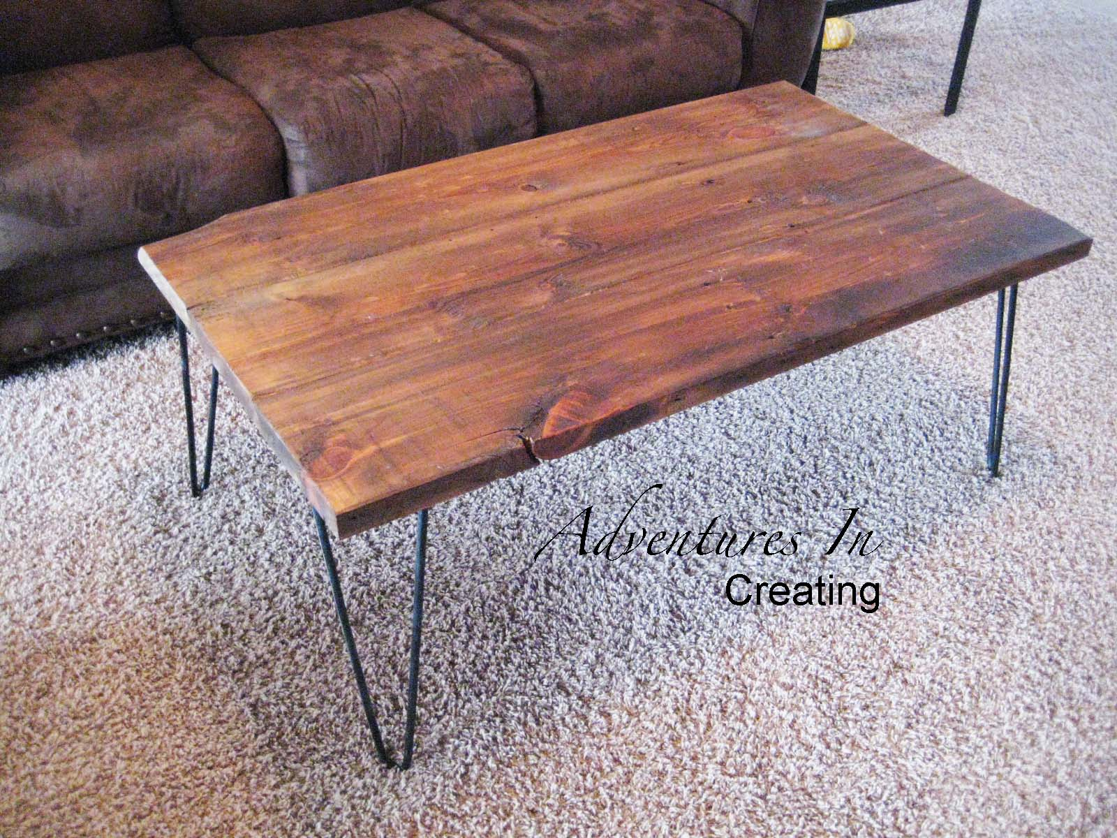 wooden coffee table with hairpin legs, Adventures in Creating via  Remodelaholic Reclaimed Wood ...