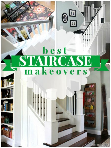 Remodelaholic curved staircase remodel with new handrail for Diy staircase makeover
