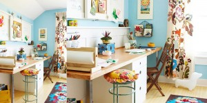 Get This Look - Colorful Shared Home Office and Homework Station