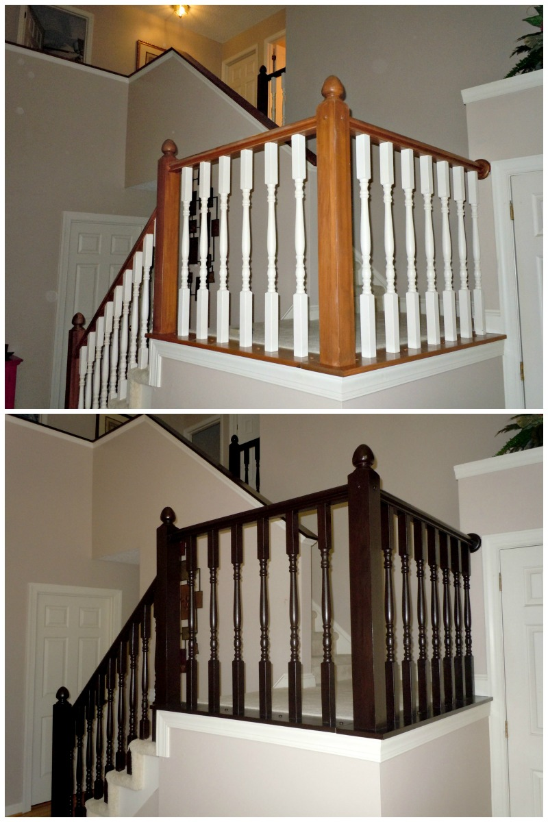 Diy stair banister makeover using gel stain construction for Diy staircase makeover