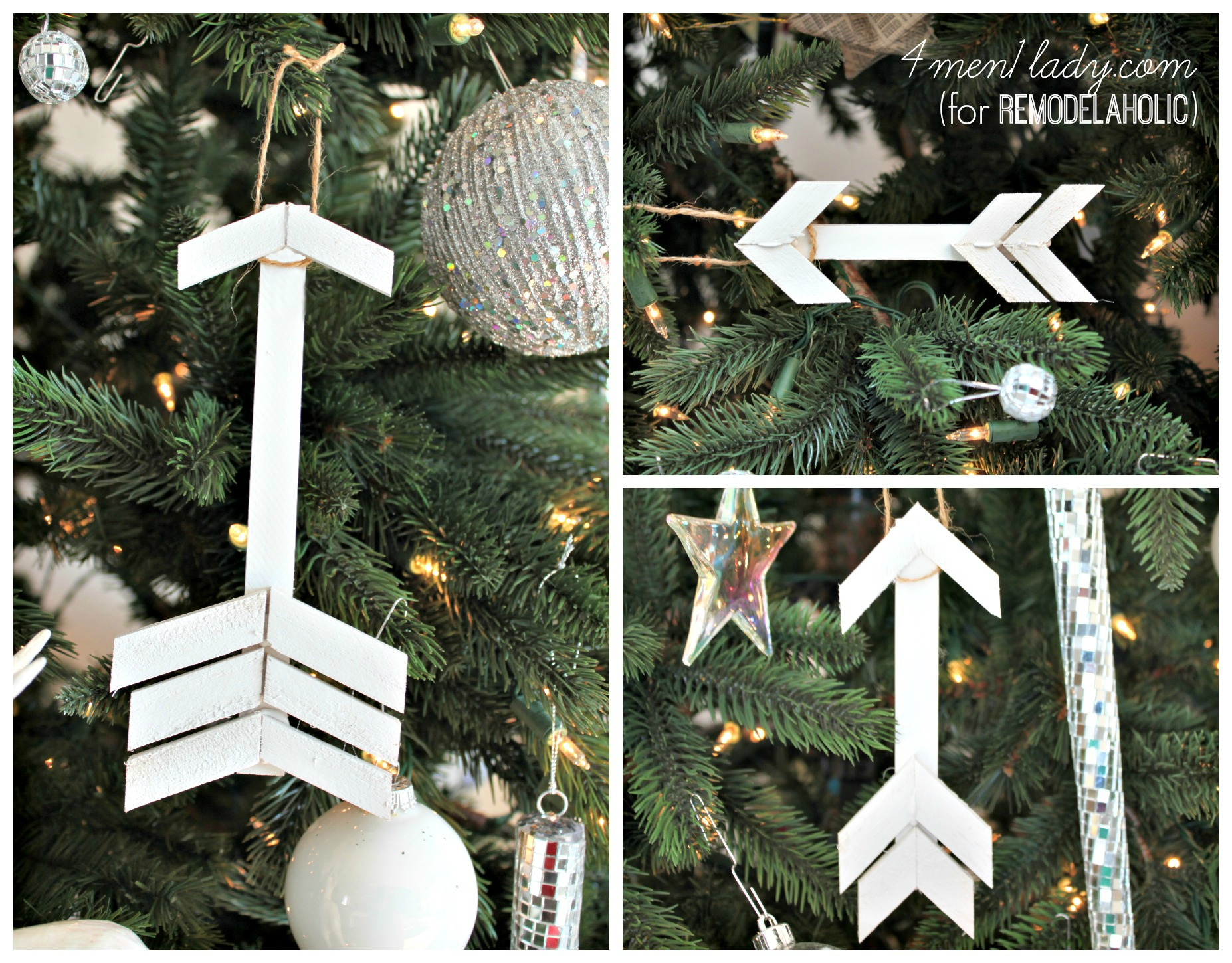 diy wooden arrow tree ornaments | 4men1lady for Remodelaholic.com