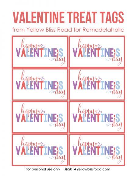 Colorful Printable Valentine's Treat Tags