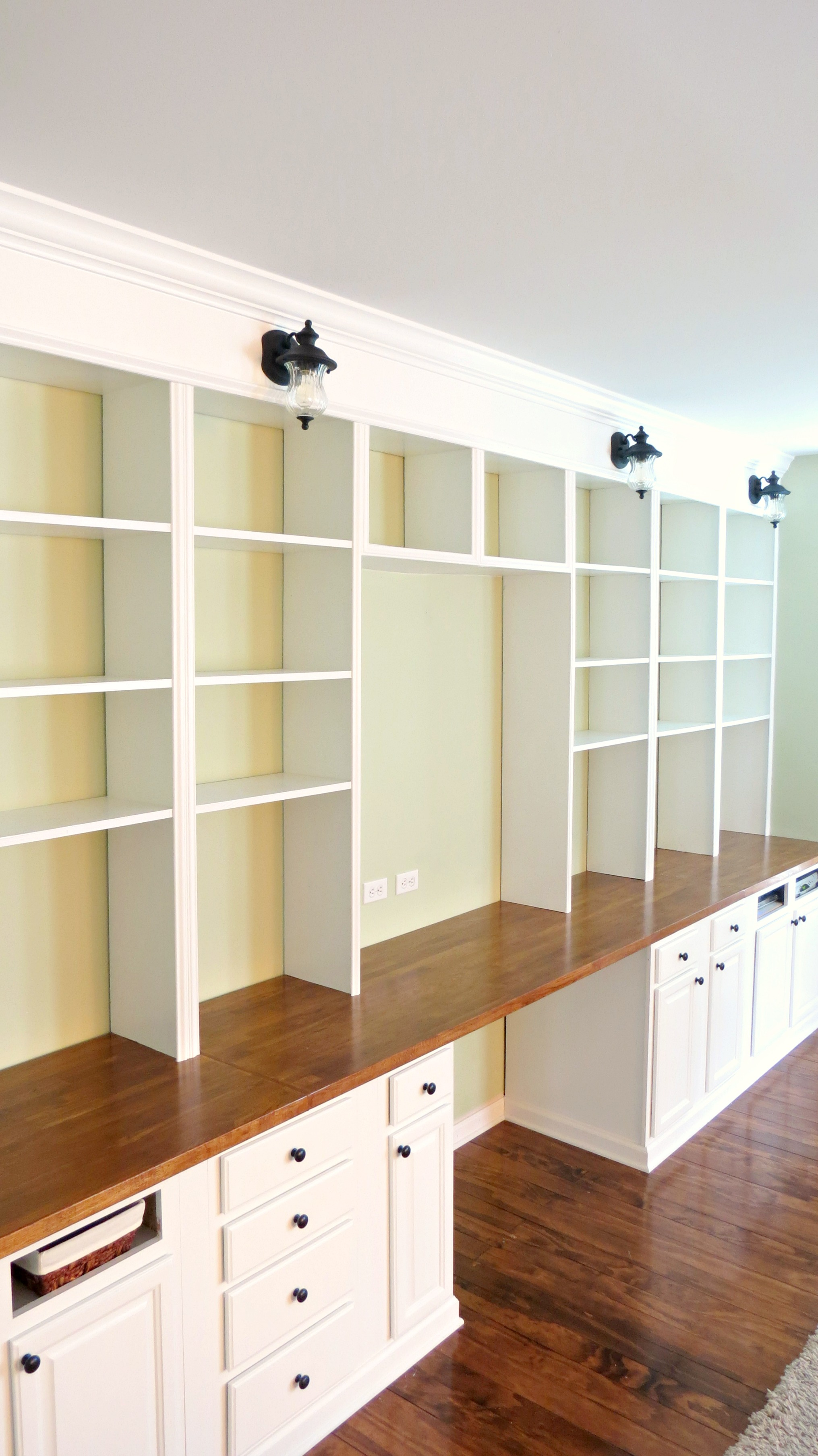 Built In Wall Shelves Remodelaholic Build A Wall To Wall Built In Desk And Bookcase