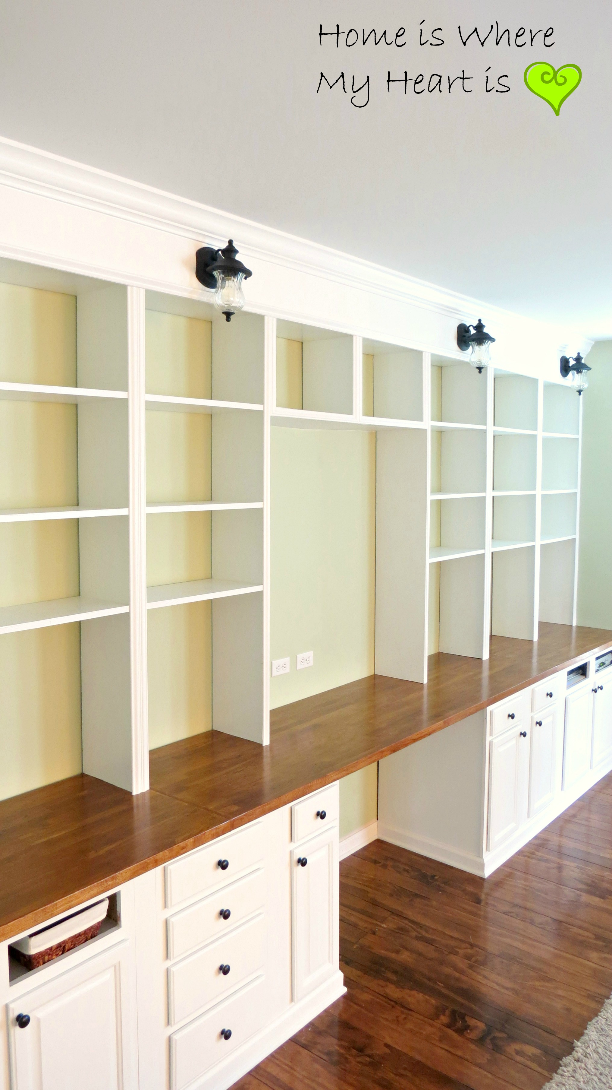 Wall-to-Wall Built-In Desk and Bookcase | Home Is Where My Heart Is