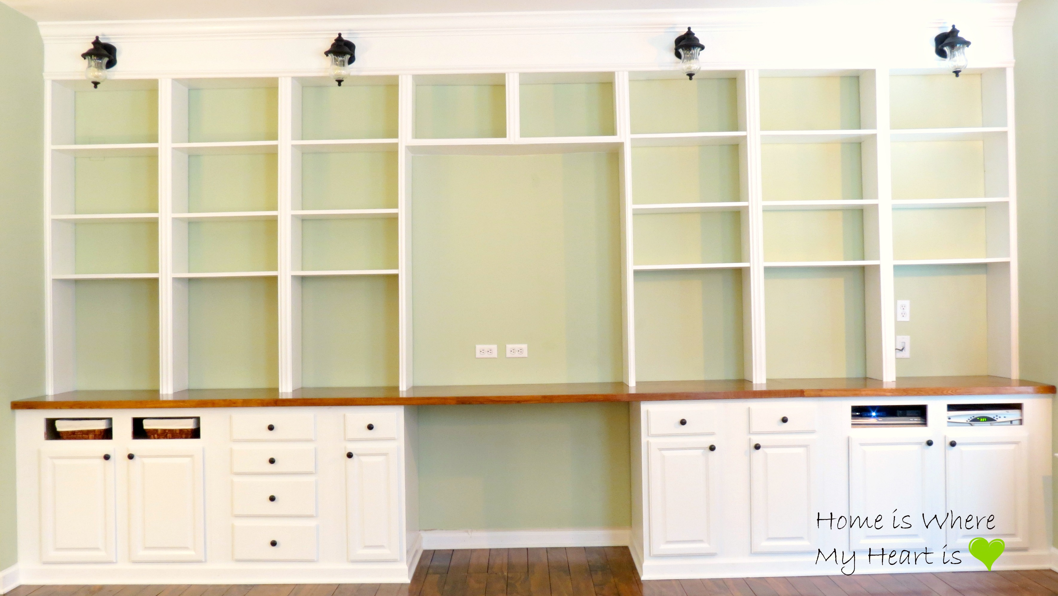 Built In Desk And Bookshelf Home Is Where My Heart Featured On Remodelaholic