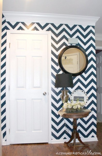 chevron striped accent wall tutorial, featured on Remodelaholic