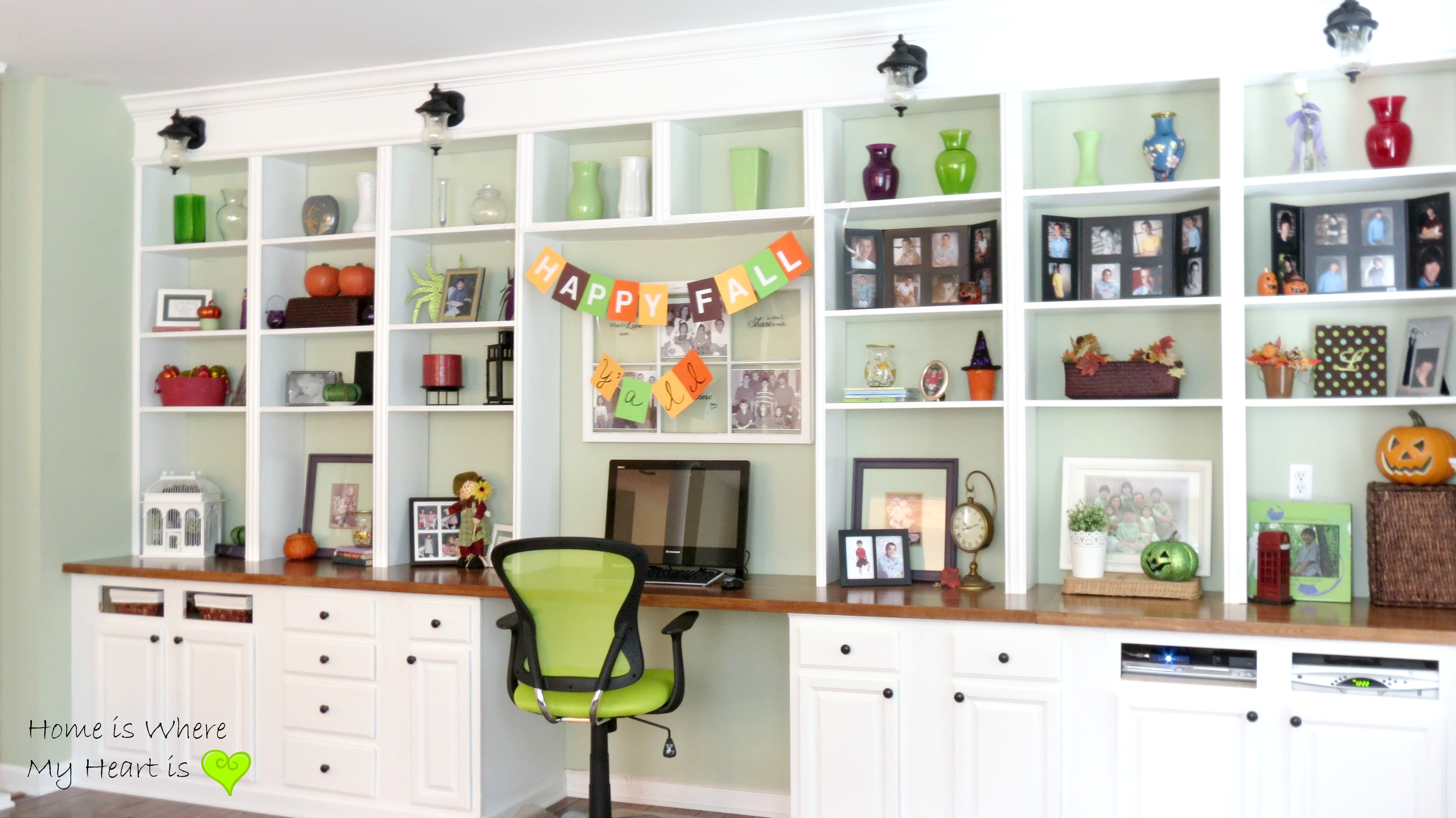 Decorated Wall To Built In Shelves And Desk Home Is Where