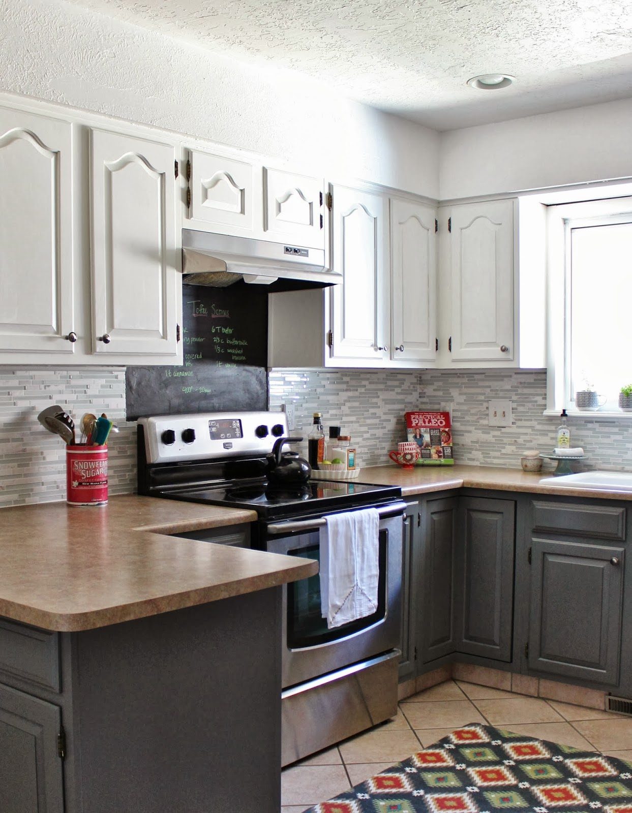 Remodelaholic grey and white kitchen makeover for Grey and white kitchen cabinets