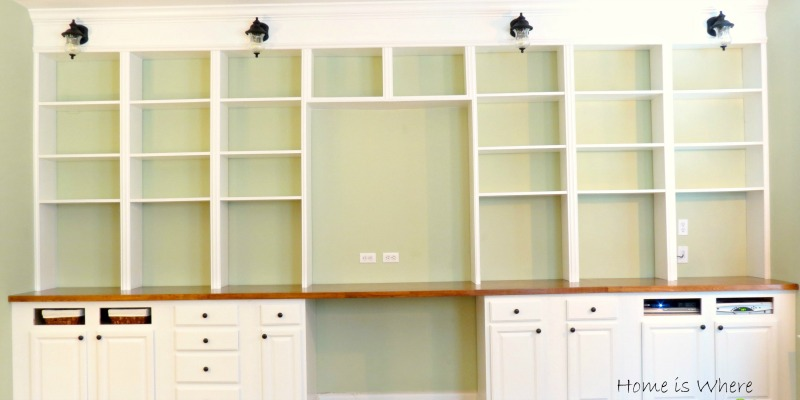 remodelaholic build a wall to wall built in desk and bookcase - Bookshelves And Desk Built In