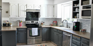 feature grey and white painted kitchen reveal, House For Five featured on Remodelaholic