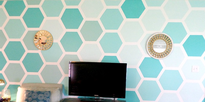 DIY Ombre Painted Hexagon Accent Wall