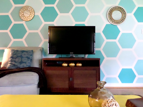 finished hexagon accent wall with mirrors, For My Love Of featured on Remodelaholic