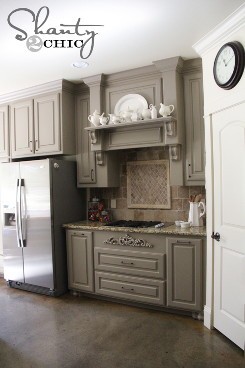 gray kitchen cabinets, Shanty2Chic