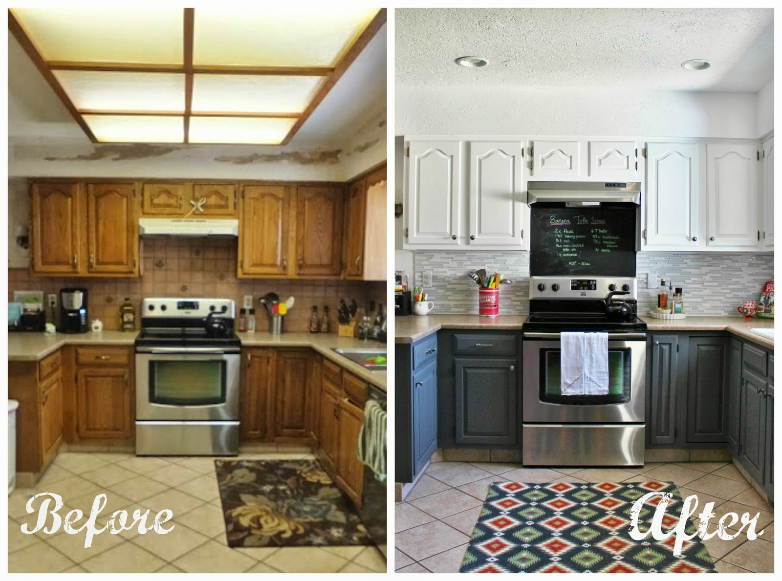 Remodelaholic grey and white kitchen makeover for Kitchen cupboard makeover before and after