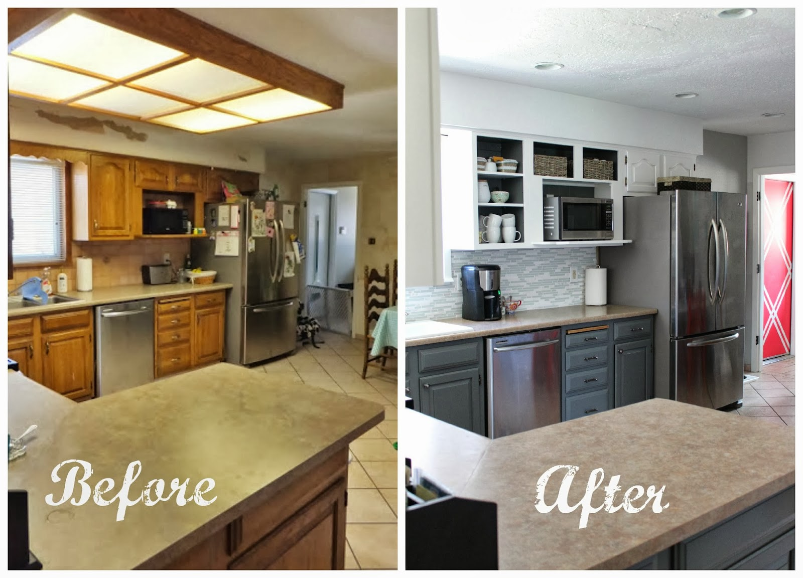 Remodelaholic grey and white kitchen makeover for Kitchen renovation before and after