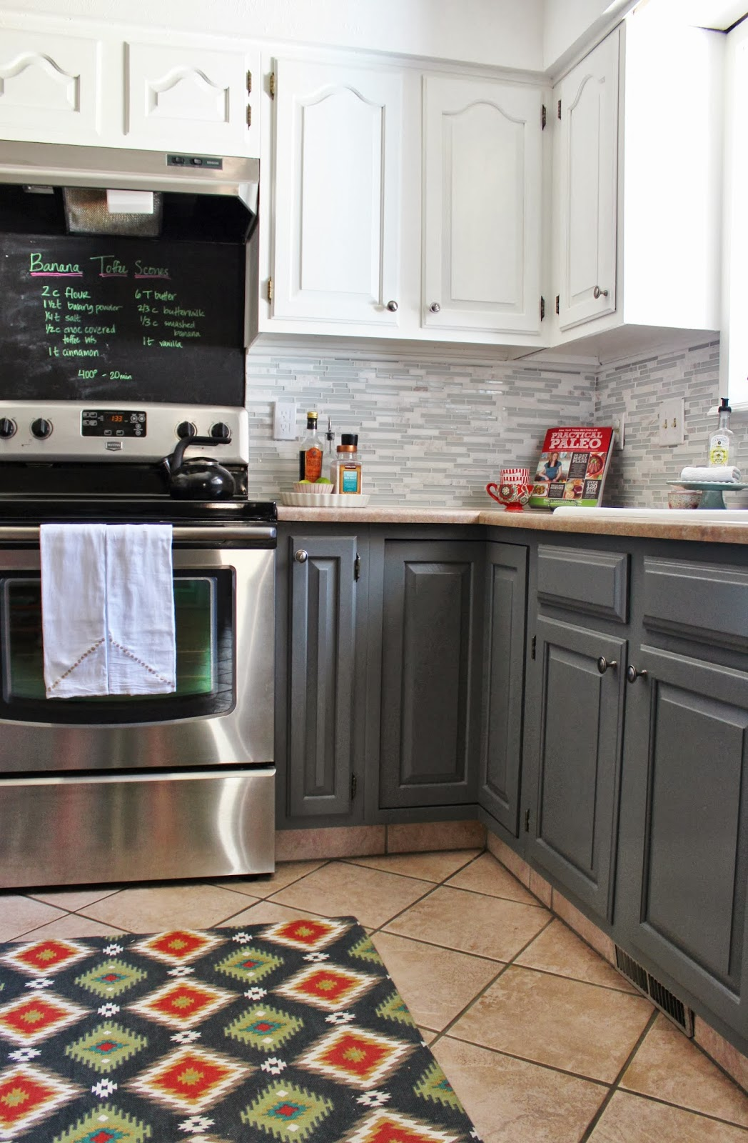 grey and white kitchen makeover with tile backsplash and chalkboard house for five featured on