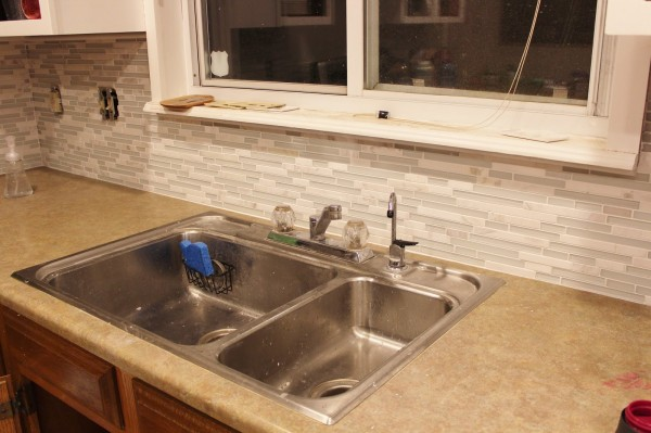 grey and white kitchen - old sink, House For Five featured on Remodelaholic