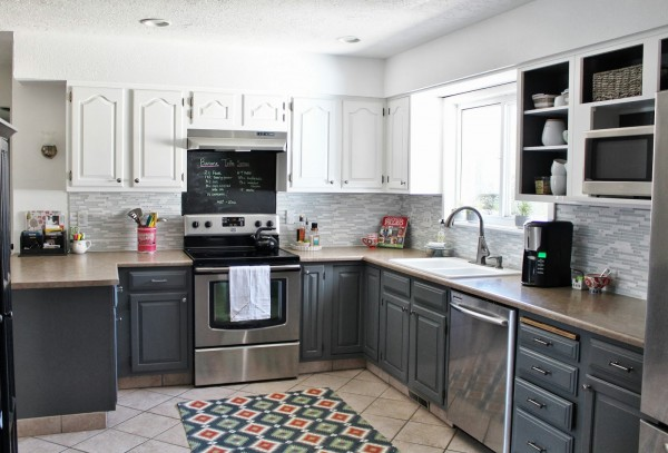 grey and white painted kitchen reveal, House For Five featured on Remodelaholic