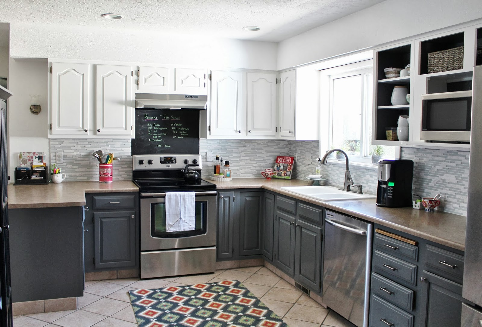 grey and white painted kitchen reveal house for five featured on remodelaholic