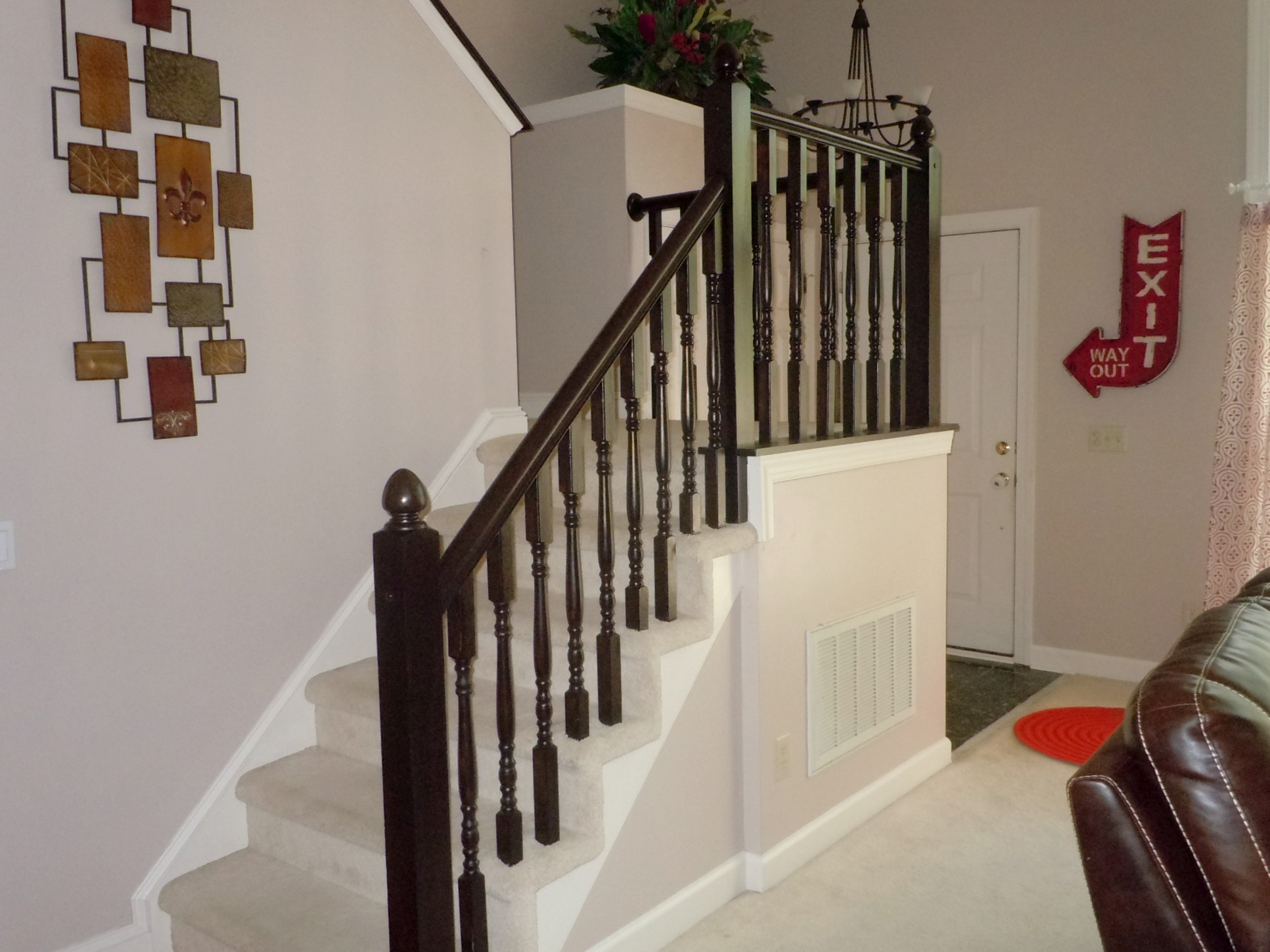 How To Redo An Oak Stair Handrail Using Gel Stain Semi Domesticated Mama Featured