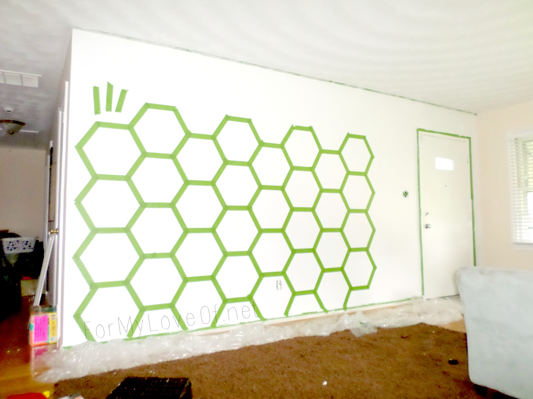 Diy Ombre Painted Hexagon Accent Wall Construction