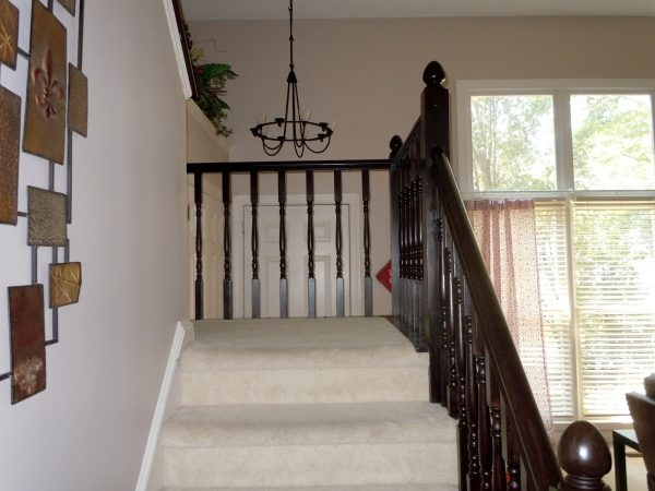 java gel stain stair banister - a diy tutorial, Semi-Domesticated Mama featured on Remodelaholic