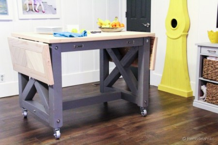 kitchen island table by Remodelaholic