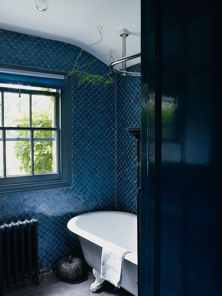 Remodelaholic Best Colors For Your Home Navy Blue : navy bathroom from www.remodelaholic.com size 736 x 981 jpeg 102kB