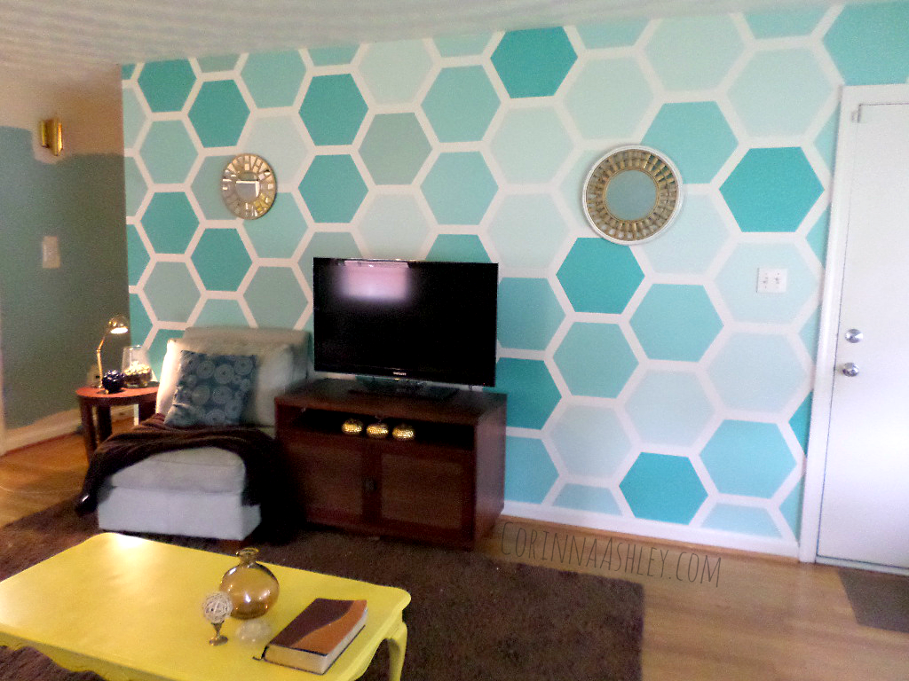 Painting Patterns On Walls Remodelaholic Diy Ombre Painted Hexagon Accent Wall