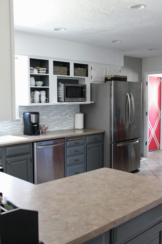 open cabinets in grey and white kitchen, House For Five featured on Remodelaholic