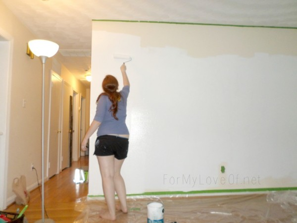 paint the wall all white before taping and painting the hexagon pattern, For My Love Of featured on Remodelaholic