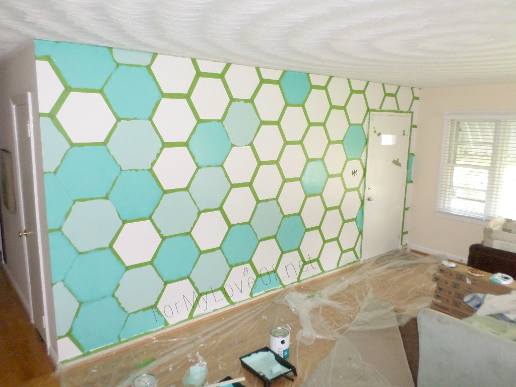 Diy ombre painted hexagon accent wall construction Interior design painting accent walls