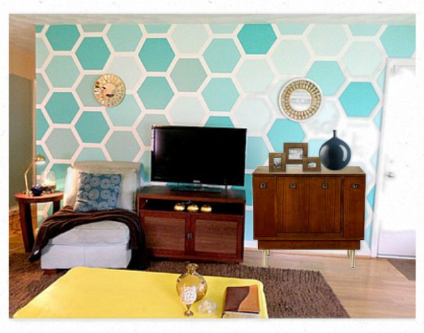 record cabinet with a hexagon painted wall, For My Love Of featured on Remodelaholic