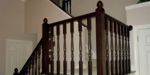 tutorial, oak stair railing makeover using gel stain, Semi-Domesticated Mama featured on Remodelaholic