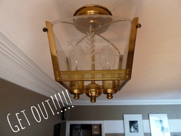 Perfect  ugly light fixture before chandelier Bliss At Home featured on Remodelaholic