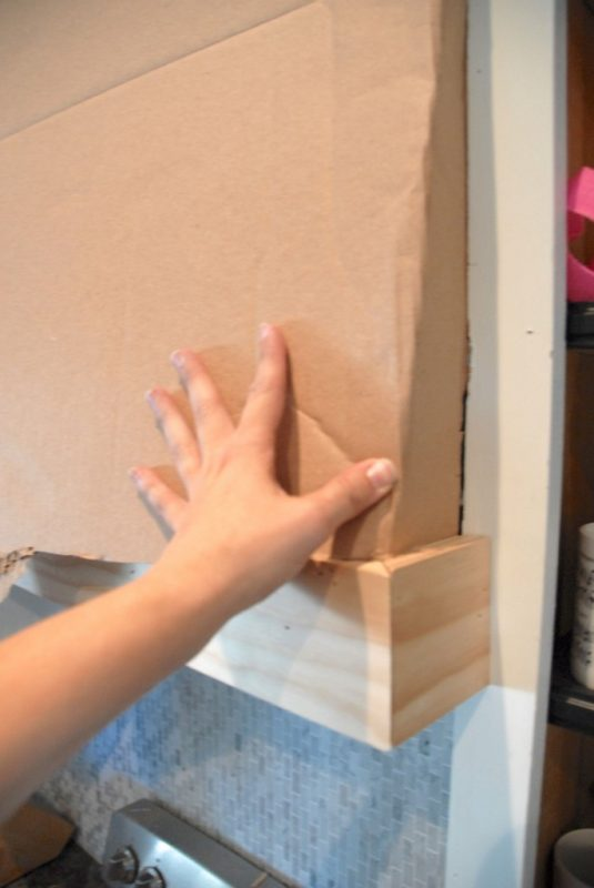 use cardboard to mock angle for custom range hood, The Rozy Home featured on Remodelaholic