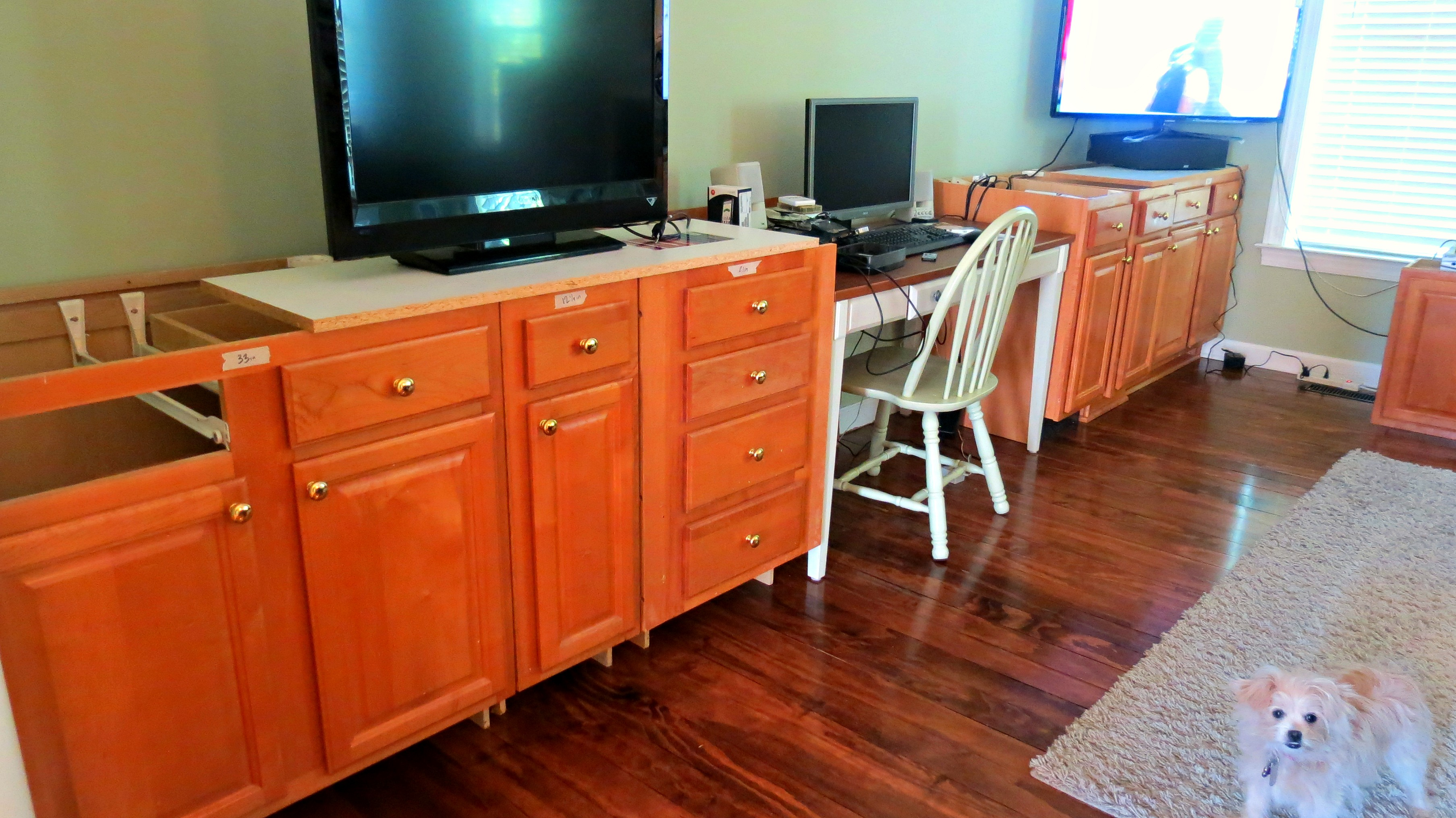 Use Existing Cabinets As Base Of Built In Desk Home Is Where My Heart