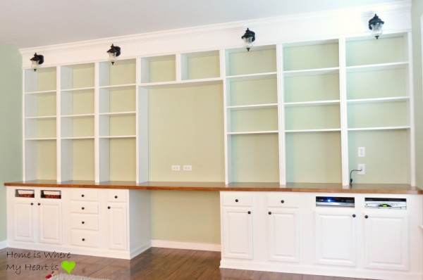... wall-to-wall built-in desk and bookshelf, Home Is Where My - Remodelaholic Simple DIY Wall Desk