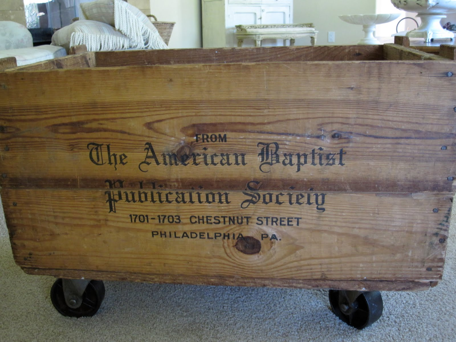 Wine Crate Bookshelves Part - 47: Wine Crate With Casters, Antique Chase Featured On Remodelaholic